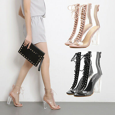 New fish mouth transparent crystal high heels sandals coarse Crystal boots women