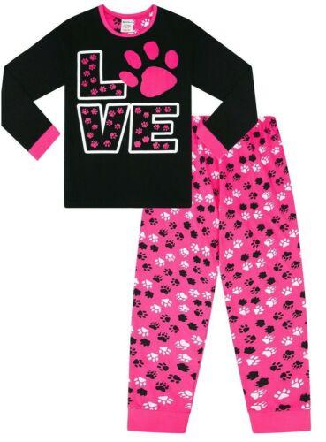 Cute Girl/'s Love Animal Paw Print Pyjamas Pink Girls Cotton Long Pj 9 to16 Years