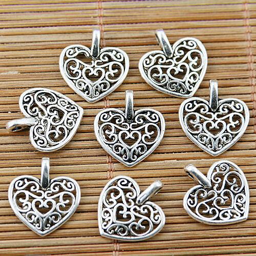 30pcs tibetan silver tone  hollow floral heart charms EF1783