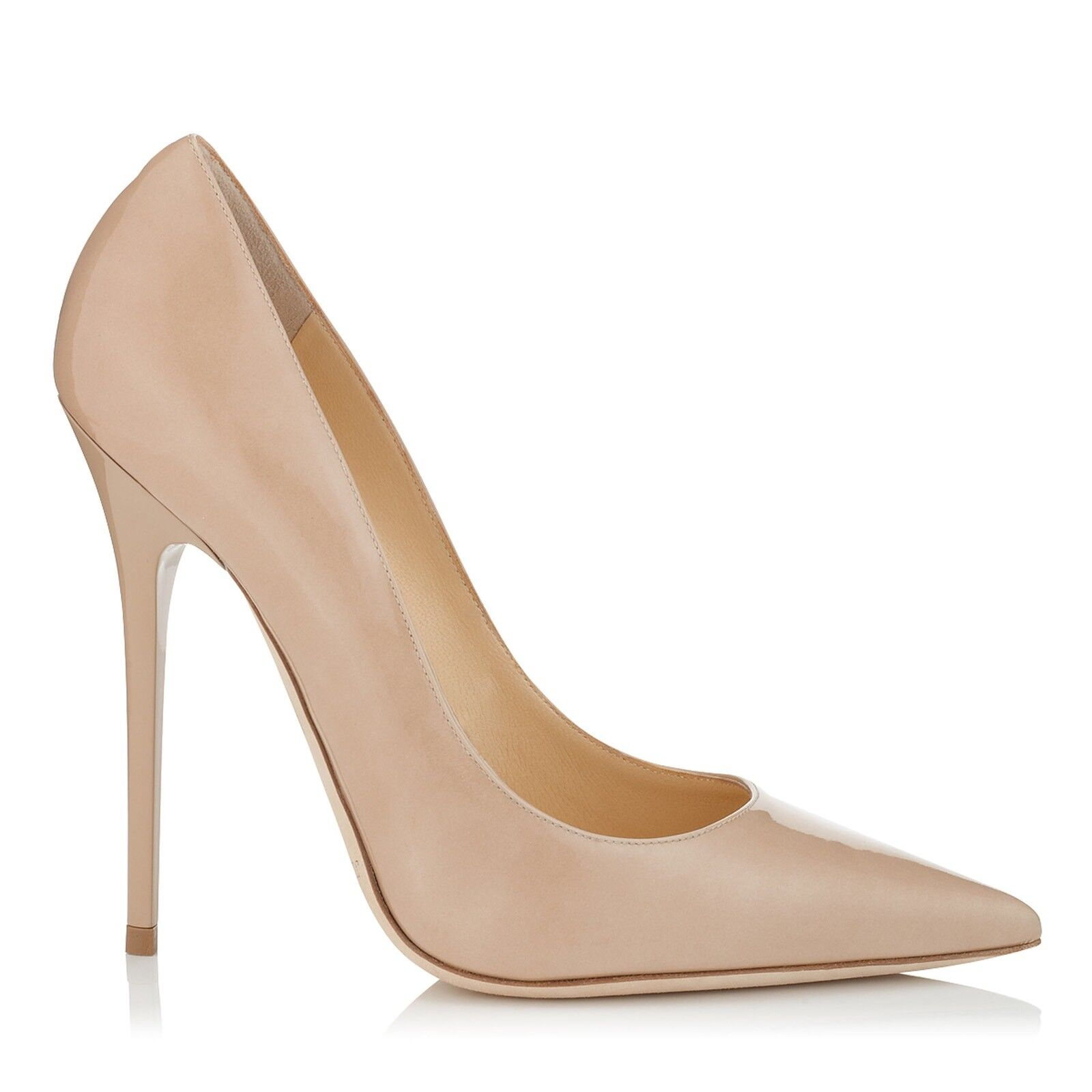 Jimmy Choo 'anouk' Nude Patent Court Heels Pumps Stiletto Größe Uk 7.5 Eu 40.5