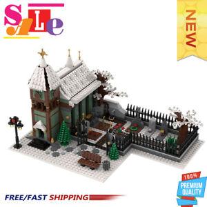 MOC-31149 Winter Village Church with Graveyard Building Block Good Quality Brick