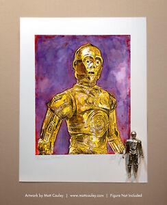 Star Wars C-3PO Vintage Kenner Action Figure ORIGINAL ART PRINT 3.75 Artwork