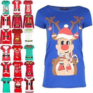 Womens Christmas Elf Costume Print T Shirt Xmas Ladies Candy Stick Stretchy Top