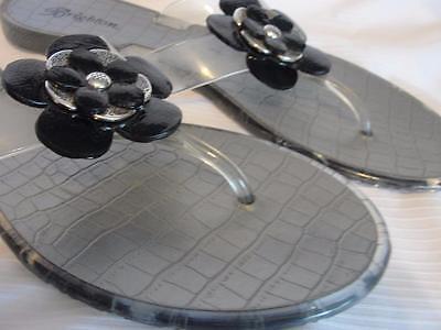 Sz 8 Authentic BRIGHTON Clear Jelly/Silver/Black Designer Shoes/Sandals/Flipflop