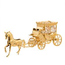 SWAROVSKI CRYSTAL ELEMENTS STUDDED HORSE PULLING CARRIAGE 24K GOLD PLATED