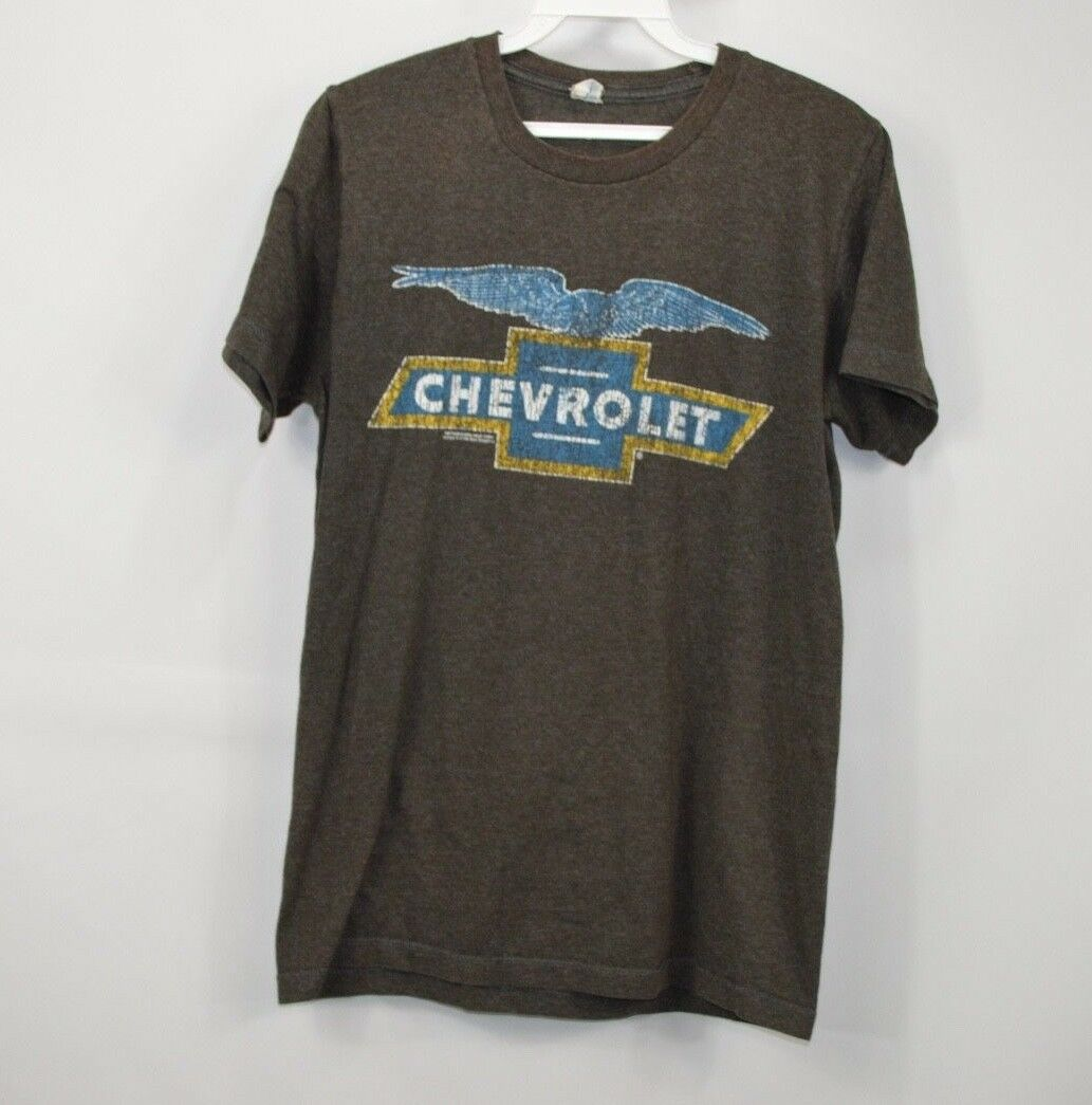 Vintage 80s Chevrolet  Herren Small Spell Out Chevy Eagle Car Thin Distressed Shirt