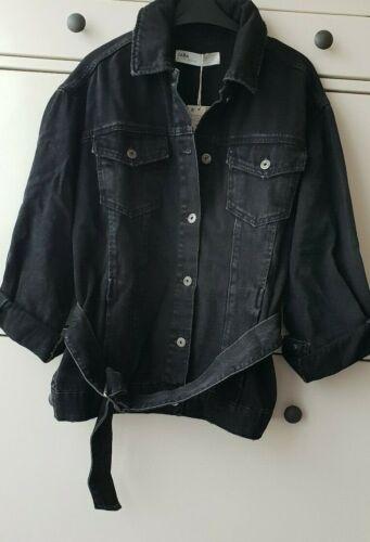 Zara Nero Oversize Giacca di jeans con cintura NUOVA CON ETICHETTA TG XS