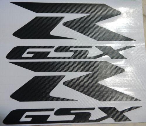 "CARBON FIBER GSXR DECALS suzuki tank fairing GSX-R SI-025 7/""x 3/"" 2PC"