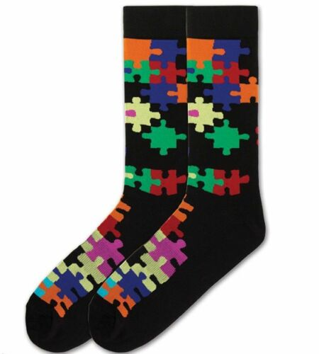 K Bell Socks Men/'s Jigsaw Puzzle Crew Size 10-13 Large
