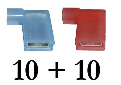 20 x RED & BLUE 6.3mm Fully Insulated FLAG Terminals