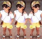Enfants Bébé Fille 3PCS Ensemble éTé Soleil Haut T-shirt Florales Shorts Bandeau