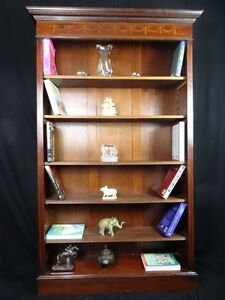 1-Antique-Regency-Sheraton-Style-Inlaid-Mahogany-Open-Front-Library-Bookcase