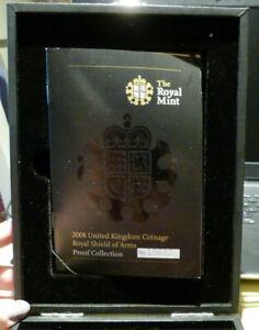 2008-Royal-Nuovo-di-zecca-SCUDO-DI-ARMI-prova-Deluxe-impostare-le-monete-per-GB-A1