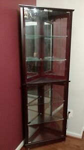 Corner Curio Cabinet Dining Room Furniture Glass Lighted Wood Kitchen Storage