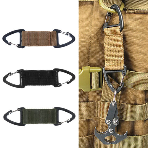 Outdoor Strong Webbing Double End Triangular Carabiner Clip Spring Snap Hook