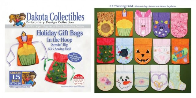Dakota Collectibles 970420 Holiday Gift Bags In The Hoop Embroidery