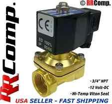 3/4 NPT 12-VOLT DC, N/C Brass Solenoid Valve, VITON Seal: Air, Water, Oil, Vac.