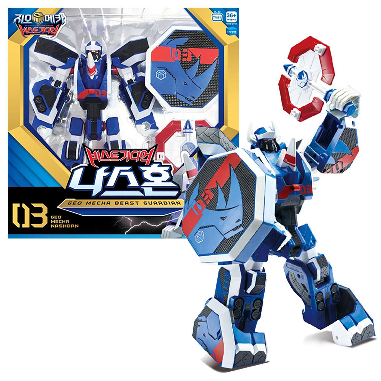 Geo Mecha Beast Guardian NASHORN Robot Toy Transformer Rhino Character Kids Gift