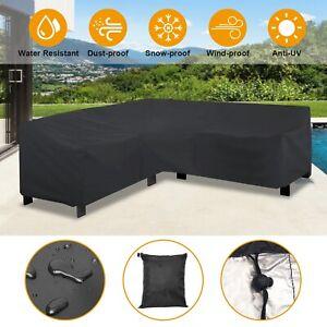 Black-L-Shape-Sofa-Cover-Patio-Outdoor-Garden-Furniture-Dustproof-Protector-New