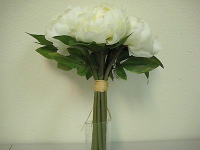 CREAM Peonies Hand Tied Bridal Bouquet Wedding Artificial Silk Flowers 740-CR
