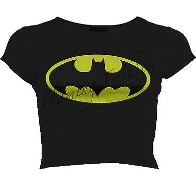 New Womens Superman Batman Logo Printed Cap Sleeve Crop Top Ladies Comic T shirt