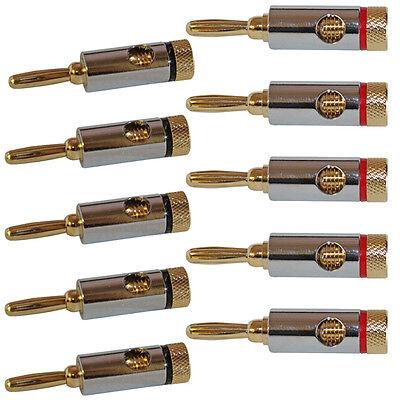 NEW Speaker Wire Banana Plugs Pack Lot Audio Gold Connectors jacks 5 Pair 10 pcs