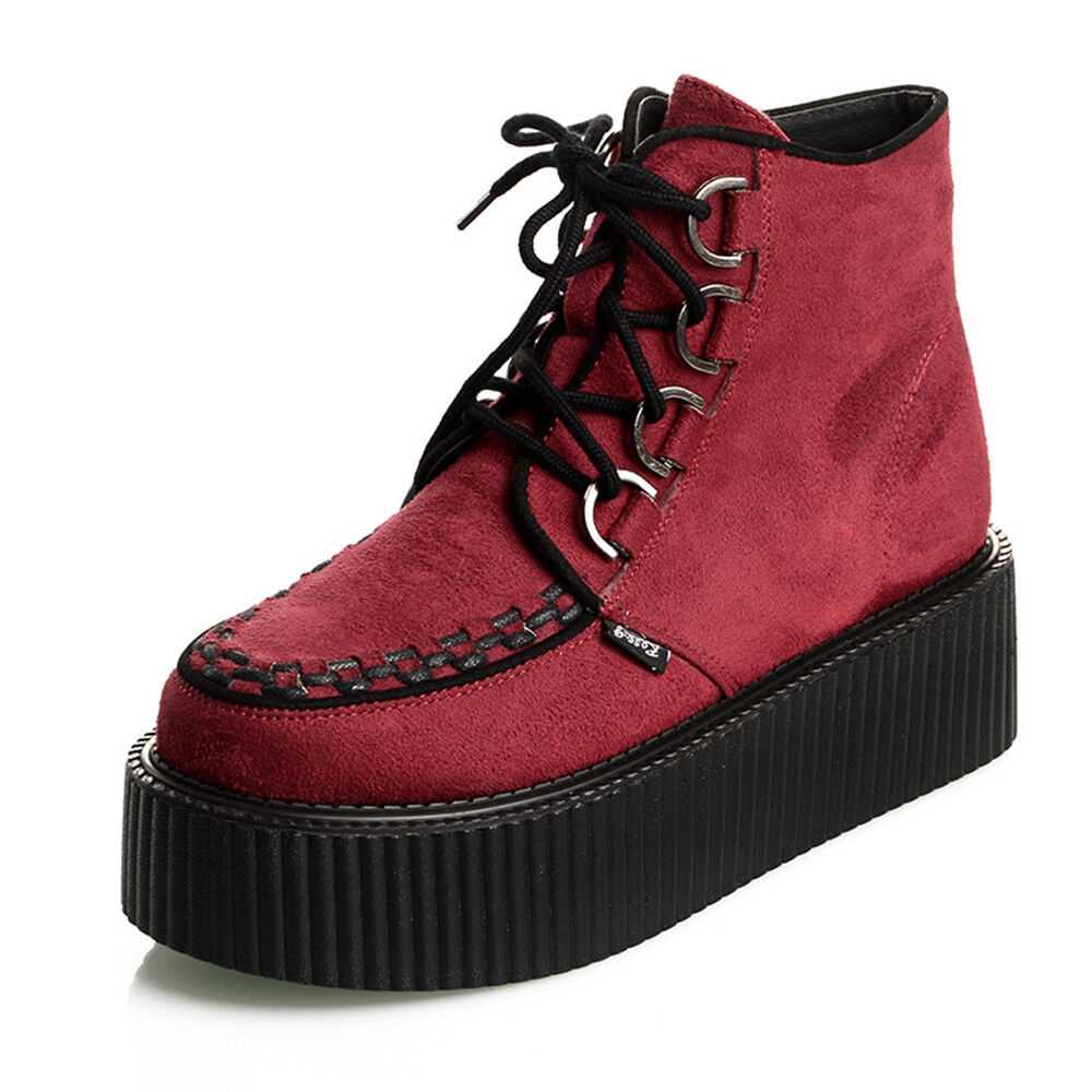 Suede Lace Up Womens High Top Flat Platform Creepers shoes Boots