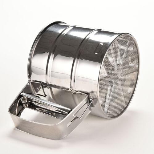 Mechanical Flour Sugar Icing Mesh Sieve Sifter Shake Baking Stainless Steel VQ