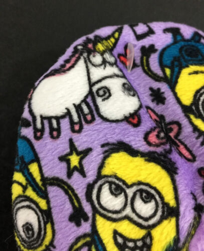 Despicable Me Slippers Minion Girls Small Medium Kids Purple New 8-13 Fuzzy