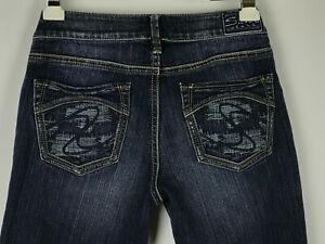 Silver-Aiko-Womens-Sz-28-31-Dark-Wash-Distressed-Bootcut-Jeans-Stitched-Pockets