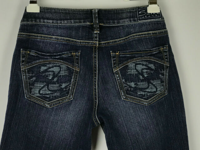 Silver Aiko Womens Sz 28/31 Dark Wash Distressed Bootcut Jeans Stitched Pockets