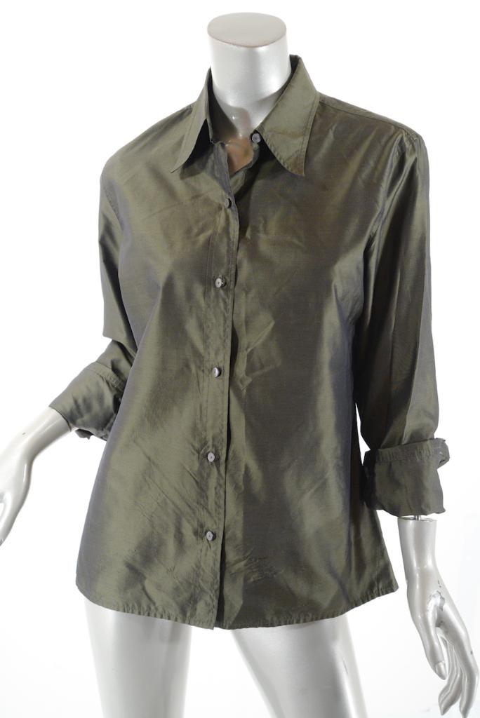 ISAAC MIZRAHI Olive 100% Silk Dupioni Button Down chemisier   GREAT   Sz  US10
