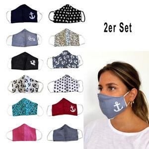 Sonia Originelli 2er Sets Mundschutz Maske aus Baumwolle in trendigen Designs