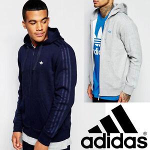 Adidas-Original-Zip-Hoodie-Mens-Trefoil-Logo-Sports-Fleece-Hooded-Sweatshirt