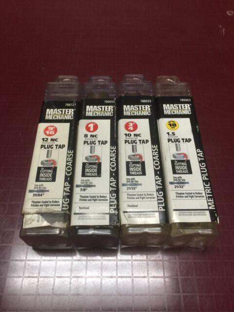 """1/"""" 3//4/"""" Master Mechanic Titanium Coated 9//16/"""" 18mm Plug Tap Multiple Sizes"""