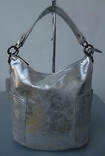 Beutel Tasche Handtasche Damen Hobo-Bag Schultertasche silber metallic NEU 2017