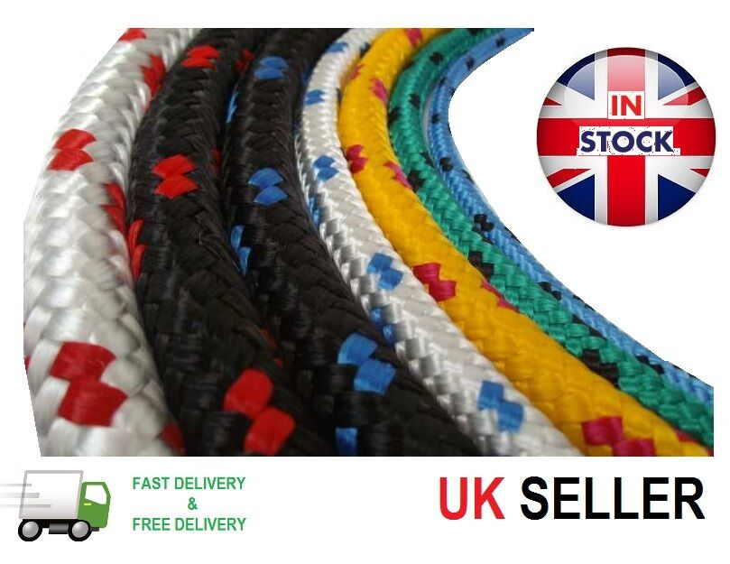 2mm Poly Braided Rope Polypropylene Cord Boat Yacht Dock Line Camping Black 3m