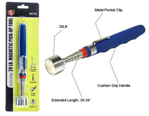 """New 30"""" Telescoping 20lb Pick Up Tool Magnetic with Metal Clip - Stainless Steel"""
