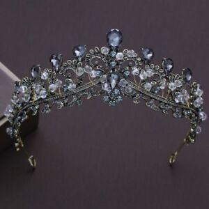 Vintage-Crown-Wedding-Bridal-Black-Crystal-Tiara-Queen-Hair-Accessories-Jewelry