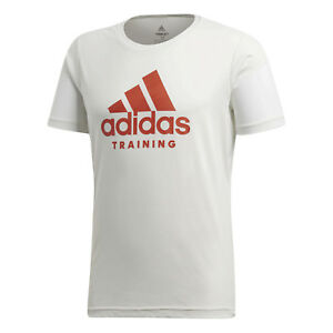 21be4291caf0e7 Das Bild wird geladen adidas-Performance-Herren-T-Shirt-FreeLift-Logo-weiss-