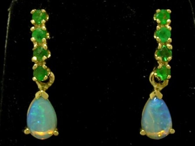 E038 - Genuine 9ct Solid Yellow gold NATURAL Emerald & Opal DROP Stud Earrings