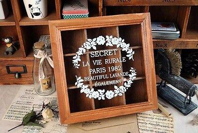 Retro Vintage Home Decor Wood Jewelry Box Case Organizer Flower Pattern 9 Cells