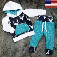 Usa Boutique Toddler Baby Boys Hoodie Tops Pants Home Outfits Set Clothes Casual