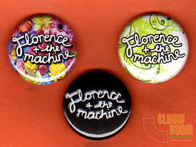 """Set of three 1"""" Florence & the Machine pins buttons band alternative"""