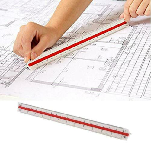 30cm Triangular Aluminium Tri Scale Metal Ruler Architect Engineers New Rul F3G6