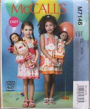 """CHILD/GIRLS DRESS/18"""" DOLL MATCHING DRESS McCalls Pattern 7146  Size 6-8"""
