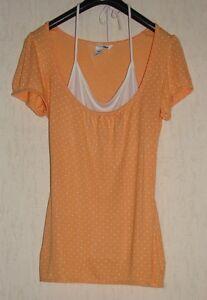 Tolles-H-amp-M-Damen-Top-Bluse-Shirt-Orange-m-Weiss-Gr-XS-34-36-Neuwertig