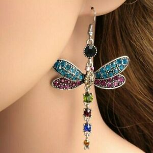 Women-Crystal-Dragonfly-Silver-Plated-Earrings-Drop-Dangle-Gift-Fashion-Party