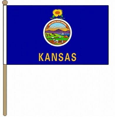 12 Stück Kansas (usa Staat) (22.9cm X 15.2cm) Hand Winkfahne Durchblutung GläTten Und Schmerzen Stoppen