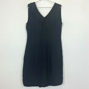 Veducci-Womens-Black-Spotted-Sleeveless-Dress-with-Side-Zipper-Size-12